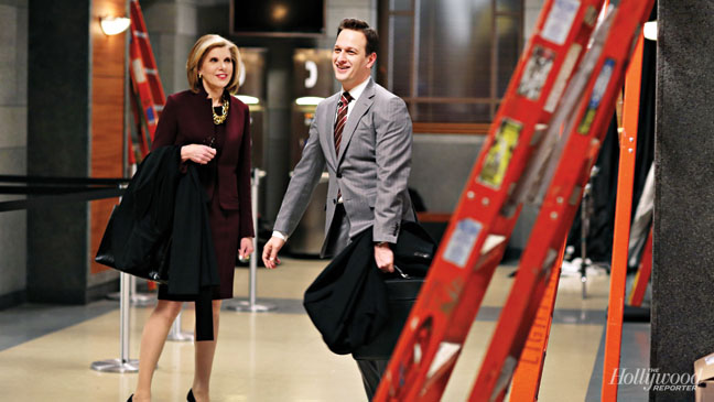 Christine Baranski and Josh Charles goofing around between takes.